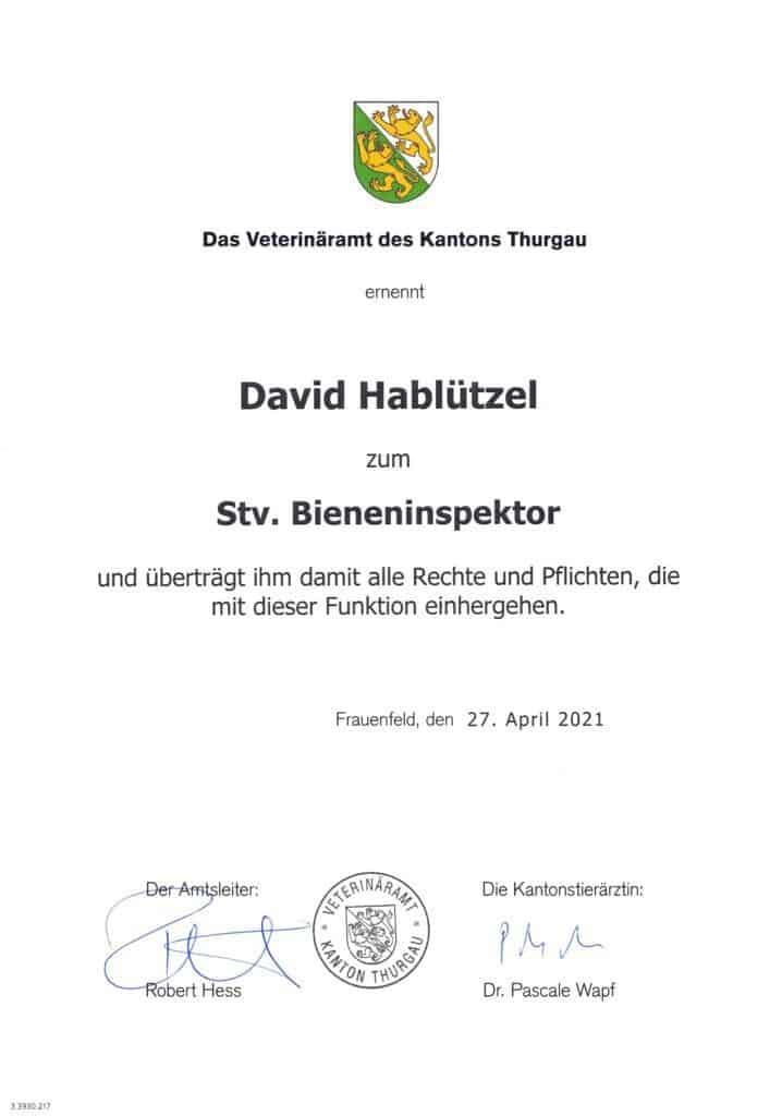Bieneninspektor Diplom